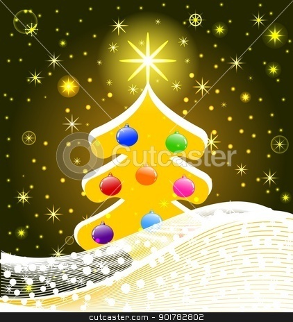 vector illustration of Christmas Tree with decorations, snowflakes, stars. eps10 stock vector clipart, vector illustration of Christmas Tree with decorations, snowflakes, stars. eps10 by trina