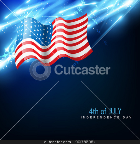 independence day 4th of july stock vector clipart, amercian independence day vector flag by pinnacleanimates