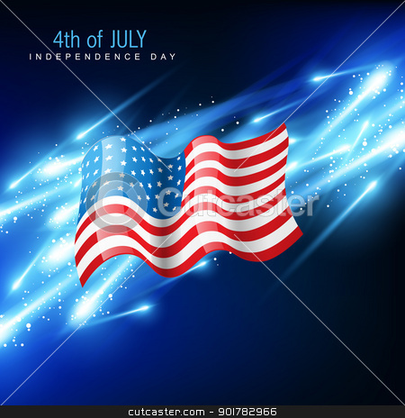 american flag vector stock vector clipart, american flag with glowing blue background by pinnacleanimates