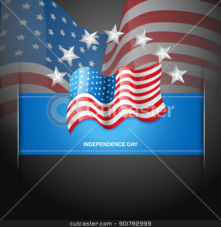 american flag label stock vector clipart, creative american flag with stars around it by pinnacleanimates