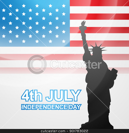 american flag vector stock vector clipart, american flag with statue of liberty by pinnacleanimates