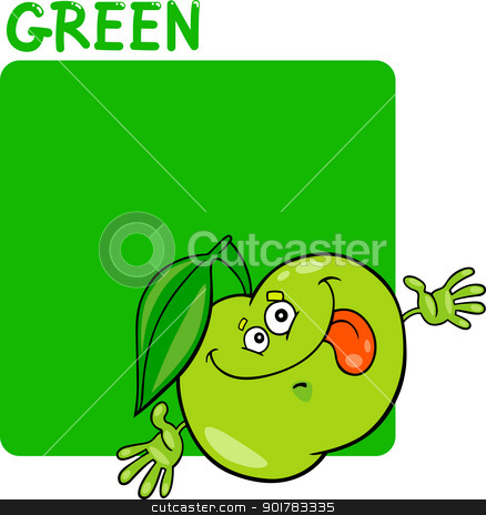 Color Green and Apple Cartoon stock vector clipart, Cartoon Illustration of Color Green and Apple by Igor Zakowski