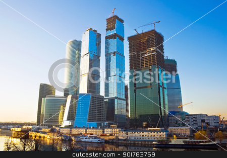 Syscrapers at sunset stock photo, Skyscrapers construction in the International Business Centre, Moscow by Alexey Popov
