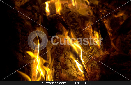 campfire firy fire ash flames and coals closeup stock photo, campfire firy fire ash flames and coals flaring up closeup by sherjaca
