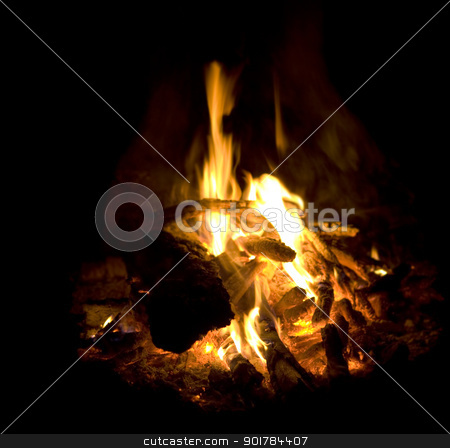 campfire burning fire ash flames and coals closeup stock photo, campfire burning fire ash flames and coals flaring up closeup by sherjaca