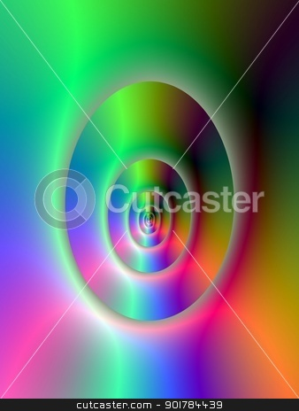 Oval Tunnel stock photo, Digital abstract image with a psychedelic oval tunnel design in green red and blue. by Colin Forrest