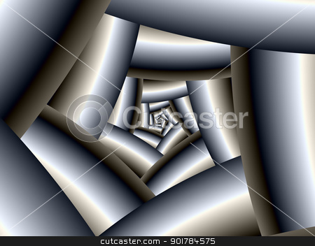Steel Spiral stock photo, Digital abstract image with a spiral design in metallic silver by Colin Forrest