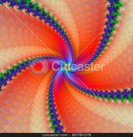 Red and Blue Scaly Spiral stock photo, Digital abstract image with a scaly spiral design in blue, pink and red. by Colin Forrest