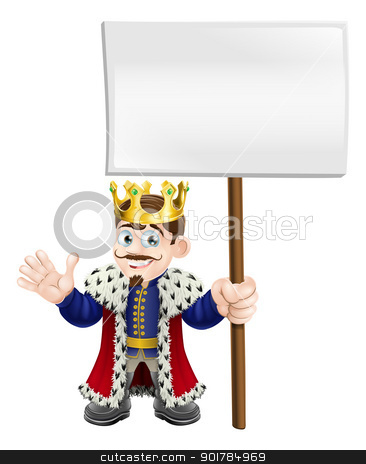 Cartoon King holding a sign stock vector clipart, A cute king waving and holding up a sign board by Christos Georghiou