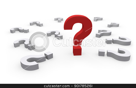 Question Mark stock photo, Big red Question mark surrounded by other white question marks, on a white background with shadows by Alex Stokes