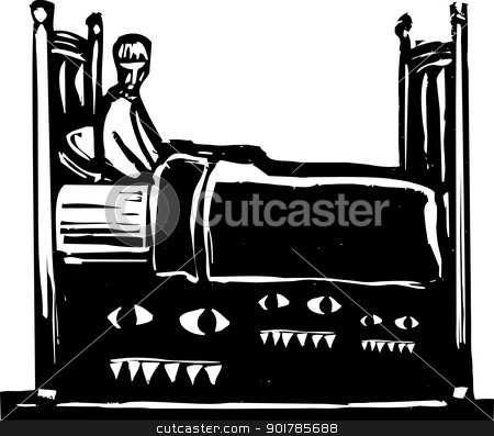 Monsters under bed stock vector clipart, boy in bed with monsters underneath of it. by Jeffrey Thompson