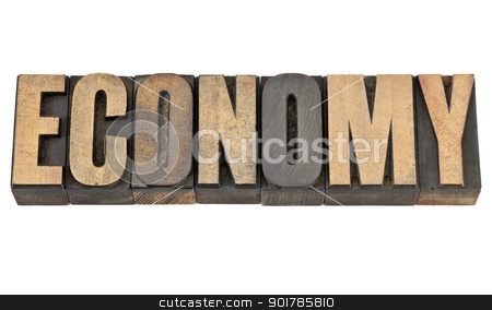 economy word in wood type stock photo, economy word - isolated text in vintage letterpress wood type by Marek Uliasz
