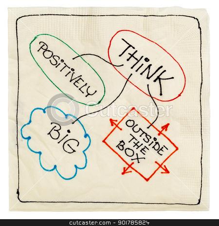think positively, big, creative stock photo, think positively, big and outside the box - motivational napkin doodle, isolated on white by Marek Uliasz