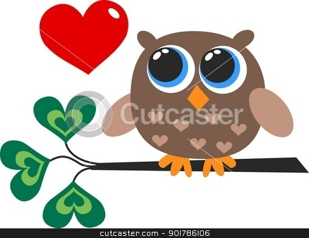 a cute little brown owl with a heart stock vector clipart, a cute little brown owl with a heart by Popocorn
