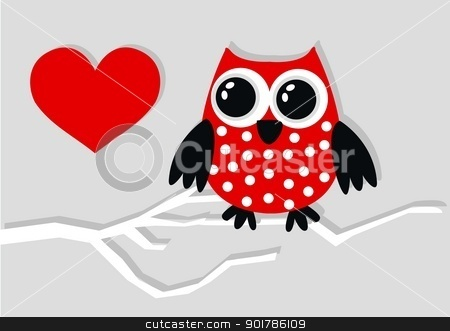 a sweet little red owl stock vector clipart, a sweet little red owl by Popocorn