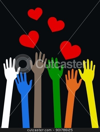 mixed ethnic reaching arms stock vector clipart, mixed ethnic reaching arms by Popocorn