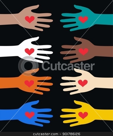 mixed ethnic reaching hands stock vector clipart, mixed ethnic reaching hands by Popocorn