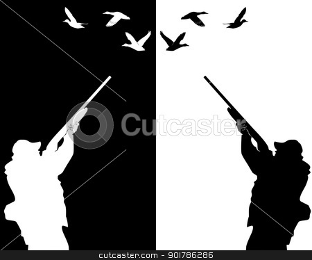 ducks hunter stock vector clipart, silhouettes of ducks hunter on a white background and black by Yuriy Mayboroda