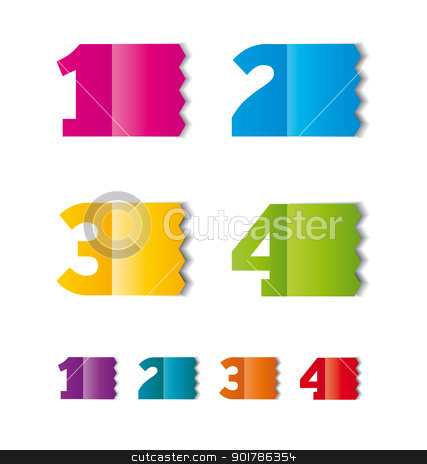 numbers stock vector clipart, color paper tag or label  with numbers  by Miroslava Hlavacova