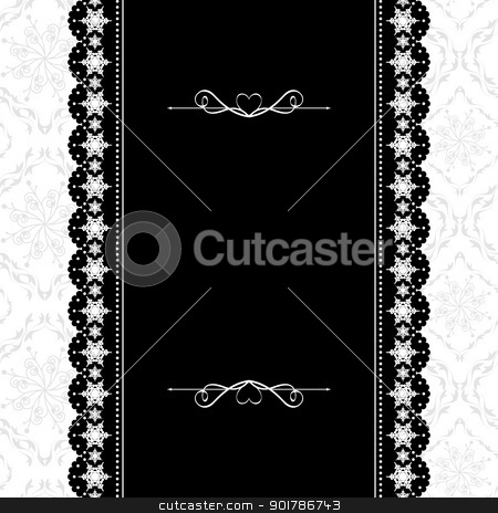 Card design vintage ornate frame on seamless background stock vector clipart, Card design vintage ornate frame on seamless pattern background by meikis