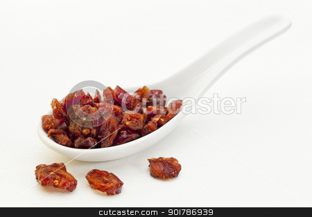spoon of dried cranberries stock photo, dried cranberry berries on a ceramic tablespoon by Marek Uliasz
