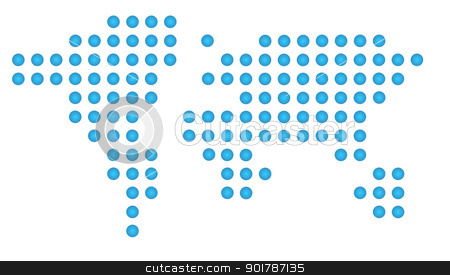 Abstract world map stock photo, Abstract world map of blue dots, isolated on white background. by Martin Crowdy
