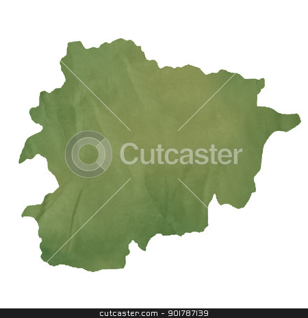 Andorra map on green paper stock photo, Andorra map in old green paper isolated on white background. by Martin Crowdy