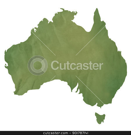 Australia map on green paper stock photo, Australia map in old green paper isolated on white background. by Martin Crowdy