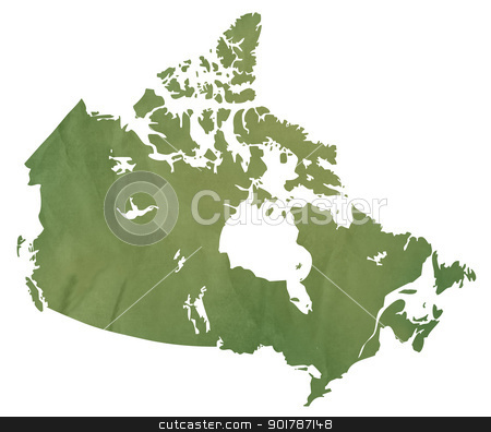 Canadian map on green paper stock photo, Canadian map in old green paper isolated on white background. by Martin Crowdy
