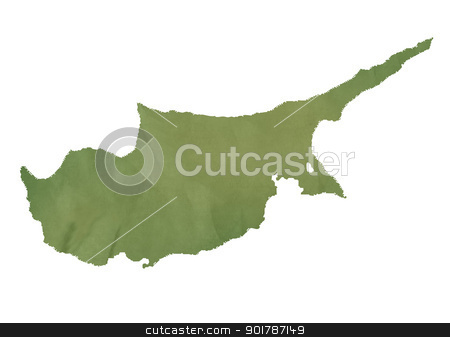 Cyprus map on green paper stock photo, Cyprus map in old green paper isolated on white background. by Martin Crowdy