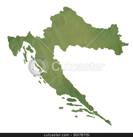 Croatia map on green paper stock photo, Croatia map in old green paper isolated on white background. by Martin Crowdy