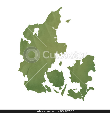 Denmark map on green paper stock photo, Denmark map in old green paper isolated on white background. by Martin Crowdy