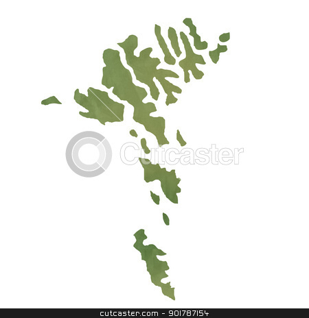 Faroe Islands map on green paper stock photo, Faroe Islands map in old green paper isolated on white background. by Martin Crowdy