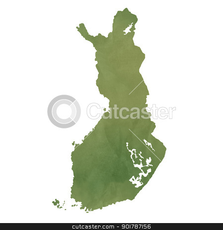 Finland map on green paper stock photo, Finland map in old green paper isolated on white background. by Martin Crowdy
