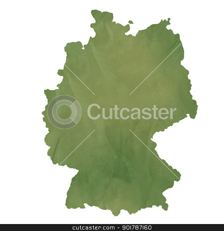 Germany map on green paper stock photo, Germany map in old green paper isolated on white background. by Martin Crowdy
