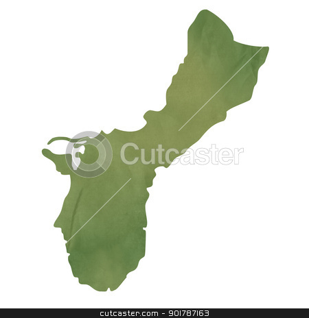 Guam map on green paper stock photo, Guam map in old green paper isolated on white background. by Martin Crowdy