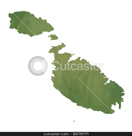 Malta map on green paper stock photo, Malta map in old green paper isolated on white background. by Martin Crowdy
