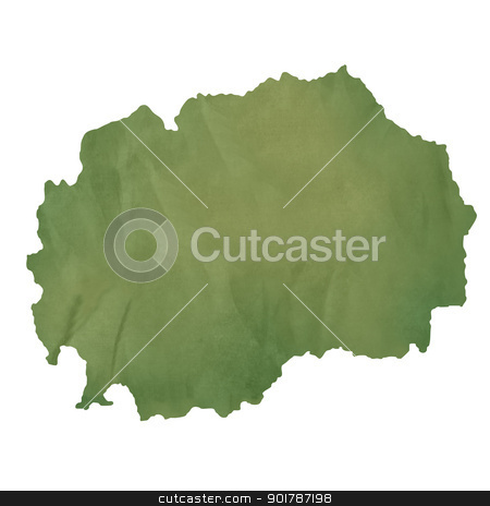 Macedonia map on green paper stock photo, Macedonia map in old green paper isolated on white background. by Martin Crowdy