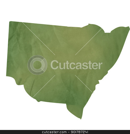 New South Wales map on green paper stock photo, New South Wales map in old green paper isolated on white background. by Martin Crowdy
