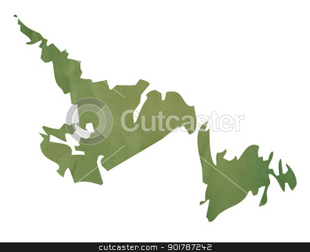 Newfoundland map on green paper stock photo, Newfoundland  province of Canada map in old green paper isolated on white background. by Martin Crowdy