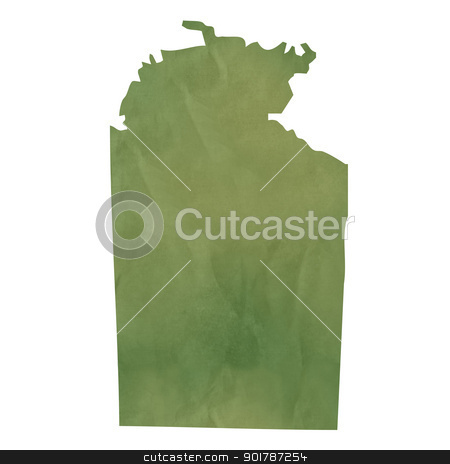 Northern Territory map on green paper stock photo, Northern Territory map in old green paper isolated on white background. by Martin Crowdy