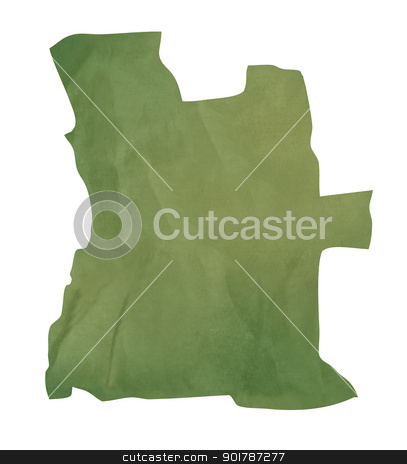 Old green paper map of Angola stock photo, Old green paper map of Angola isolated on white background by Martin Crowdy