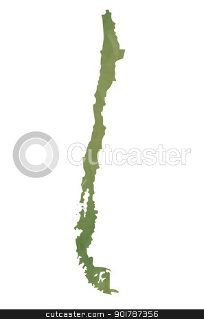 Old green paper map of Chile stock photo, Old green paper map of Chile isolated on white background by Martin Crowdy