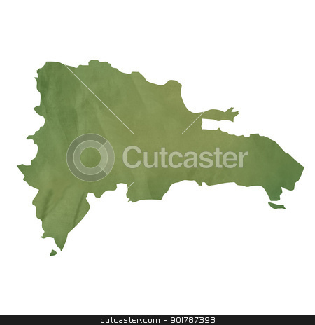 Old green paper map of Dominican Republic stock photo, Old green paper map of Dominican Republic isolated on white background by Martin Crowdy