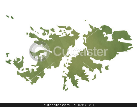 Old green paper map of Falkland Islands stock photo, Old green paper map of Falkland Islands isolated on white background by Martin Crowdy