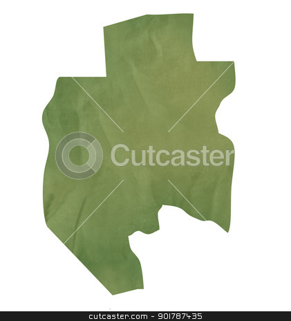 Old green paper map of Gabon stock photo, Old green paper map of Gabon isolated on white background by Martin Crowdy