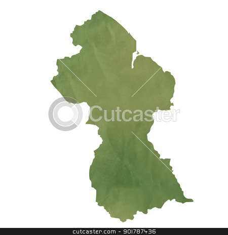 Old green paper map of Guyana stock photo, Old green paper map of Guyana isolated on white background by Martin Crowdy