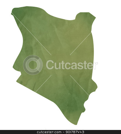 Old green paper map of Kenya stock photo, Old green paper map of Kenya isolated on white background by Martin Crowdy
