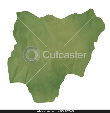 Old green paper map of Nigeria stock photo, Old green paper map of Nigeria isolated on white background by Martin Crowdy