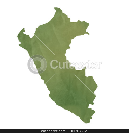 Old green paper map of Peru stock photo, Old green paper map of Peru isolated on white background by Martin Crowdy
